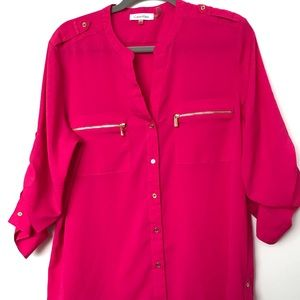 Calvin Klein Hot pink button down